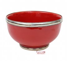 Moroccan Ceramic Bowl with Silver Edge. 12 cm Handmade in Morocco. (Red )